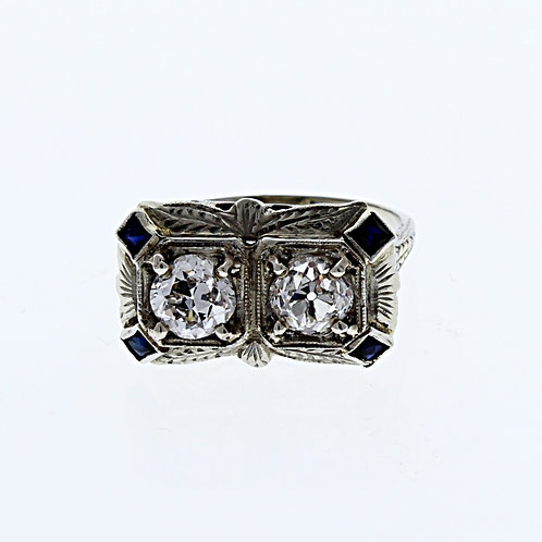 Two Stone Diamond & Sapphire Ring
