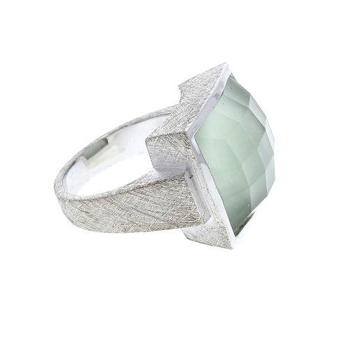 Square Green Amethyst Ring