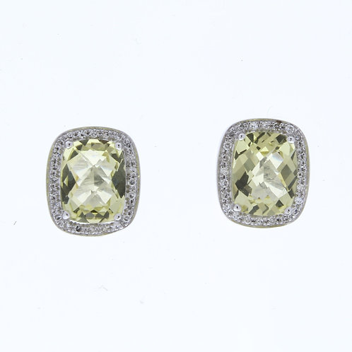 Lemon Quartz and Diamond Stud Earrings