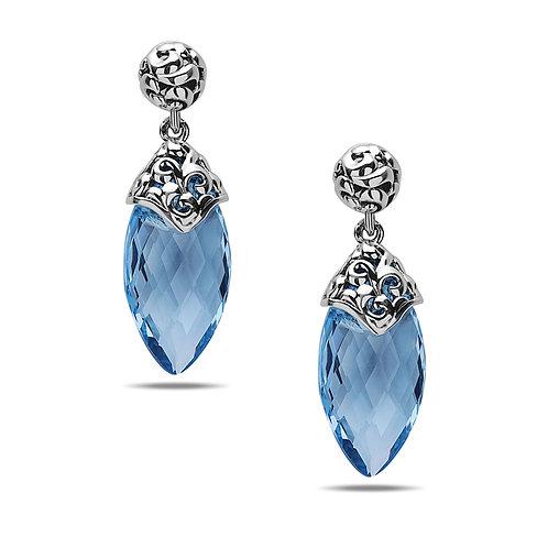 Charles Krypell Ivy Ball Blue Topaz Dangle Earrings