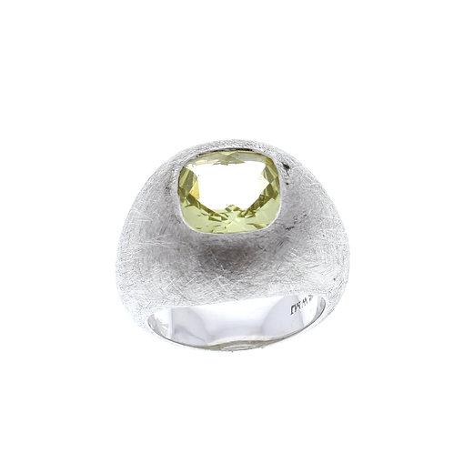 Lemon Quartz Dome Ring