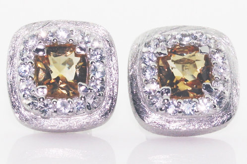 Citrine and White Sapphire Stud Earrings