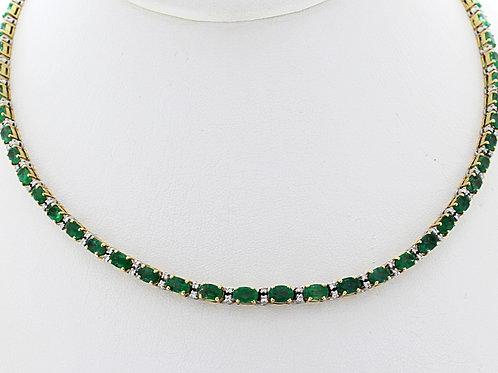 Emerald and Diamond Line Necklace
