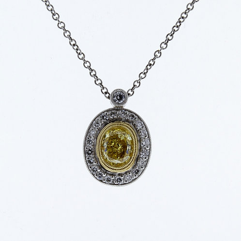 Natural Yellow Diamond Oval Necklace