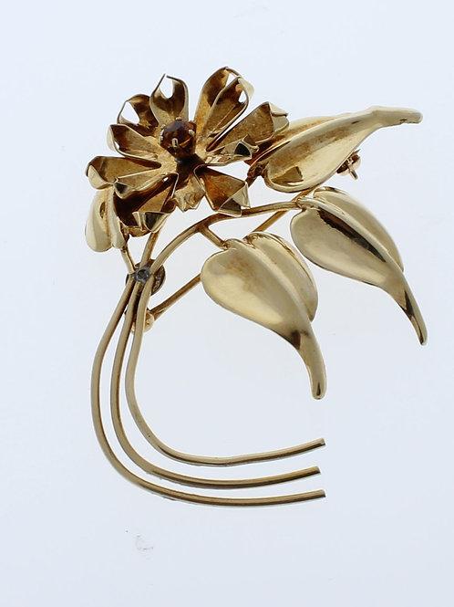 Citrine Flower Pin