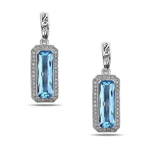 Charles Krypell Ivy Blue Topaz & Diamond Dangle Earrings