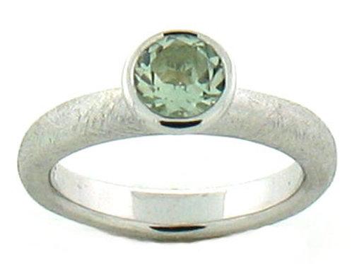 Green Amethyst Bezel Set Stackable Ring