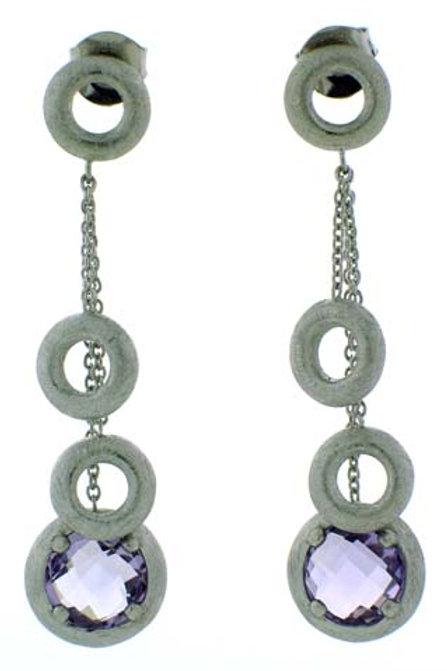 Pink Amethyst Round Checkerboard Cut Dangle Earrings