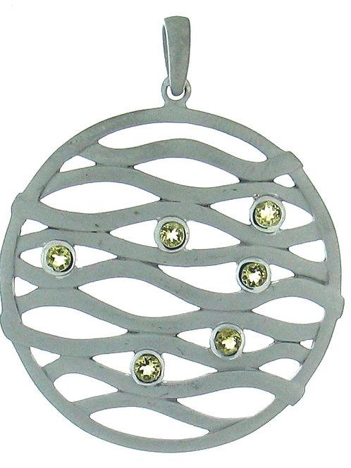 Lemon Quartz Circle Pendant