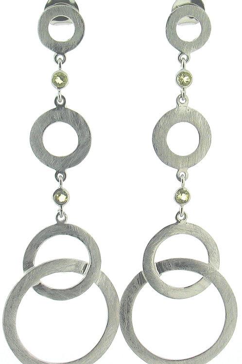 Lemon Quartz Circle Dangle Earrings