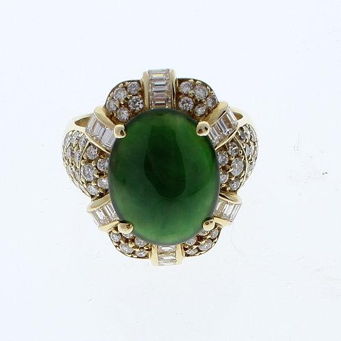 Jadite and Diamond Ring