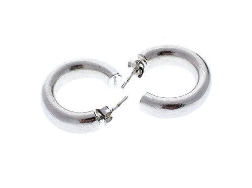 Rounded J Hoop Earrings