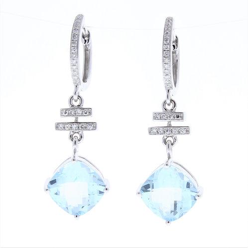 Sky Blue Topaz and Diamond Dangle Earrings