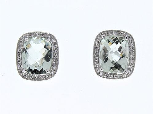 Green Amethyst and Diamond Stud Earrings