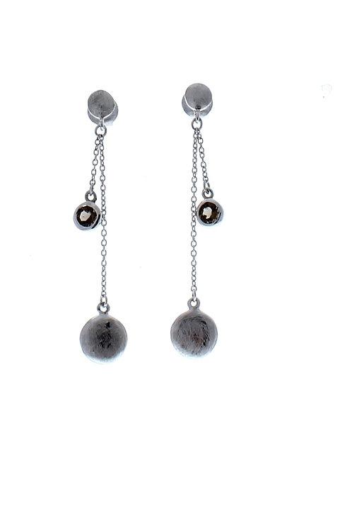 Smoky Quartz Bezel Dangle Earrings