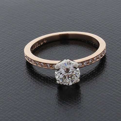 Diamond Solitaire Two Tone Engagement Ring