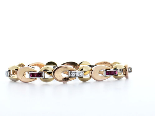 Ruby and Diamond Tri-Tone Bracelet