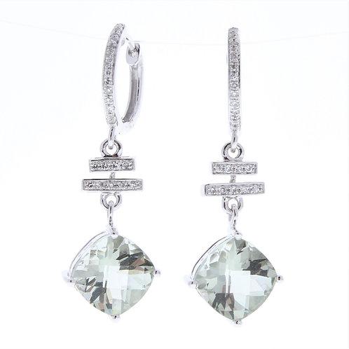 Green Amethyst and Diamond Dangle Earrings