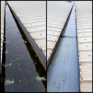 box gutter cleaning before & after