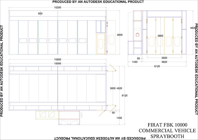 Technical Drawing of FBK 10000 Commertial Vehicles Vans Spraying Painting Spray Booth Oven