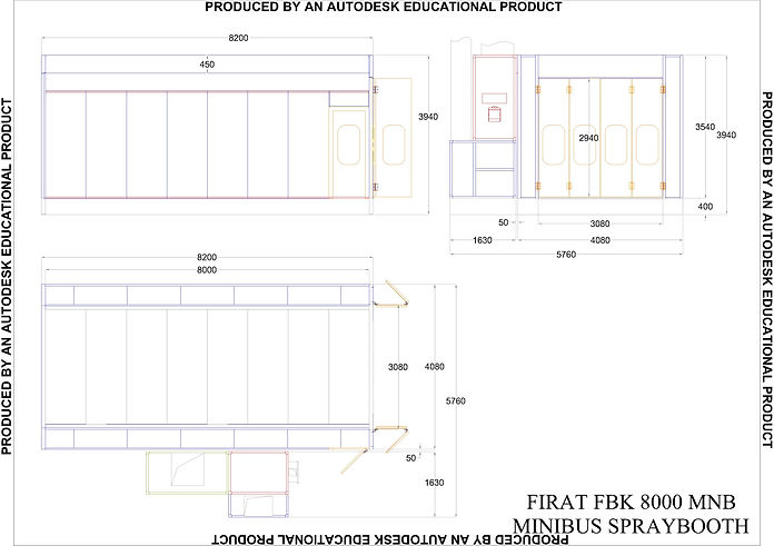 Technical Drawing of FBK MNB 8000 Spray Booth painting spraying drying Oven can van automotive