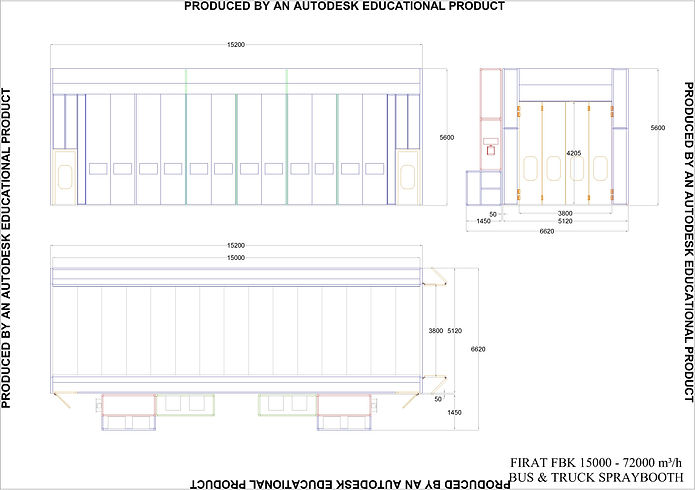 Technical Drawing of FBK 15000  Lorry Commertial Vehicles  Bus Spraying Painting Spray Booth Oven INDUSTRIAL LARGE