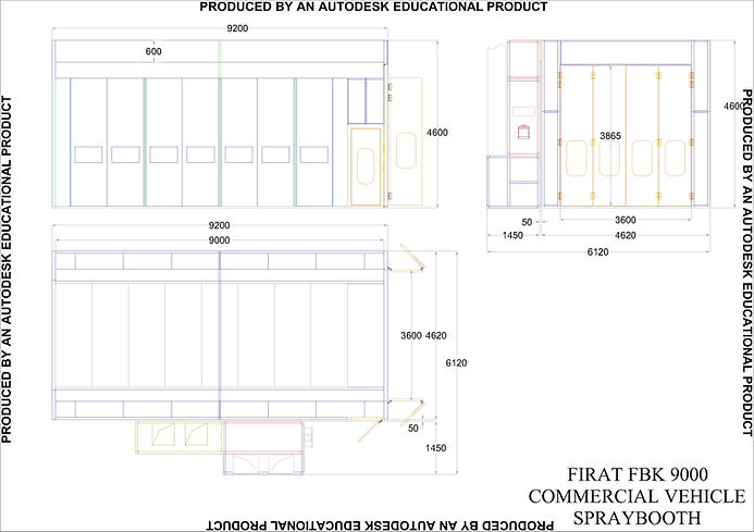 Technical Drawing of FBK 9000 Commertial Vehicles Vans Spraying Painting Spray Booth Oven Industrial Spraying Painting Drying