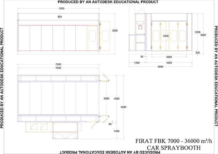 Technical Drawing of FBK MNB 7000 Spray Booth Oven spraying painting drying