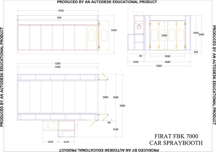 Technical Drawing of FBK 7000 Spray Booth spraying drying painting oven automotive
