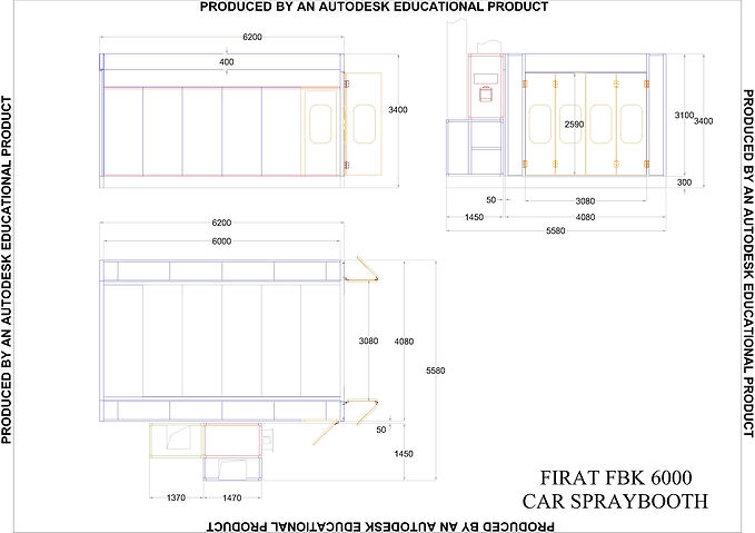Technical Drawing of FBK 6000 Spray Booth Oven drying painting spraying automotove