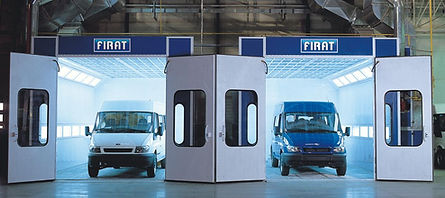 two FBK MNB 7000 open door for minibuses and vans spray booth oven spraying painting drying automotive cars