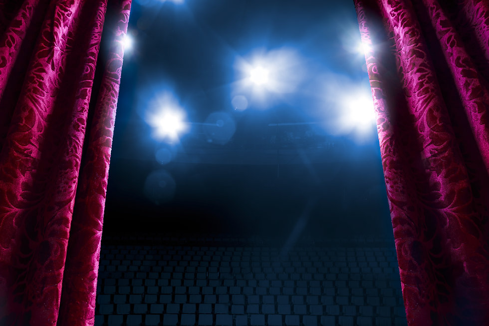 Theater curtain with dramatic lighting a