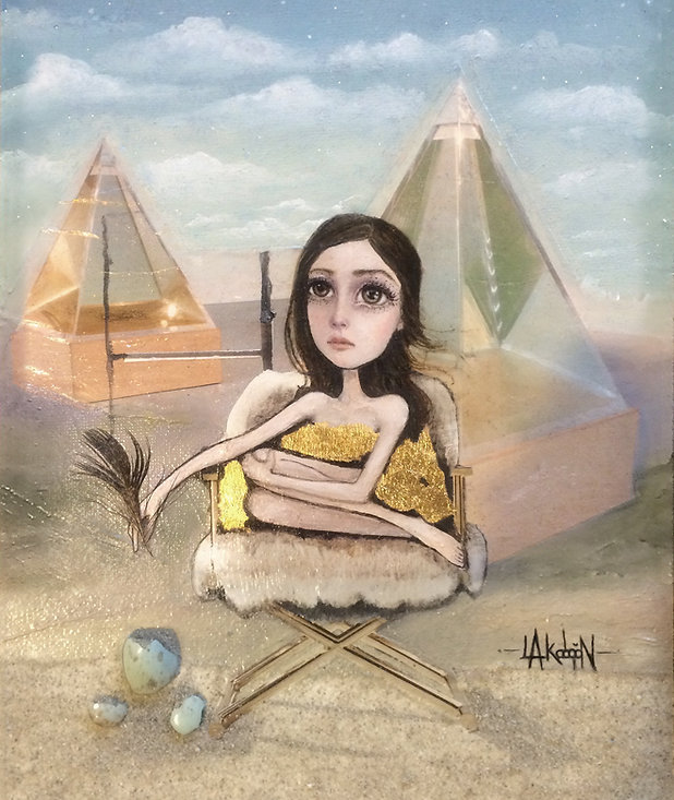 Oil paint mixed media girl dress gold leaf pyramids brown eyes surreal desert