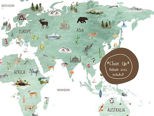Watercolored Green Atlas