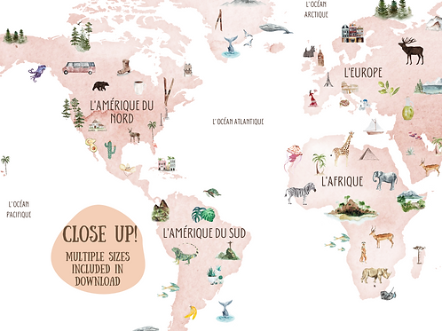 French Blush World Map
