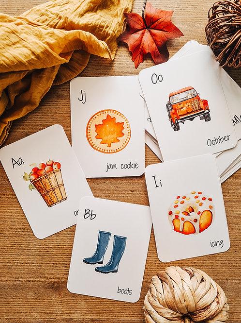 Into Autumn Alphabet Flashcards