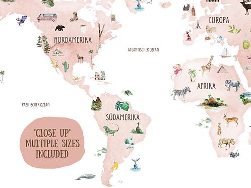 German Blush World Map