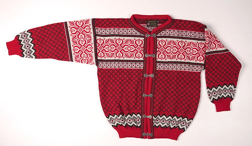 Red and Black Norskwear Cardigan w/clasps