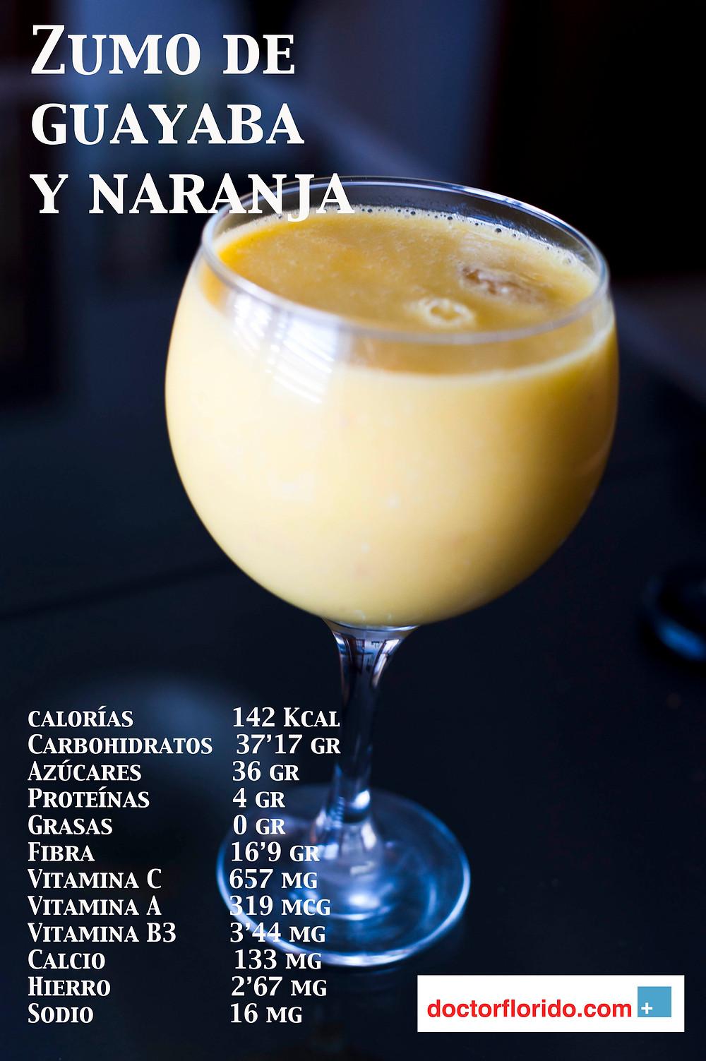 zumo de guayaba y naranja