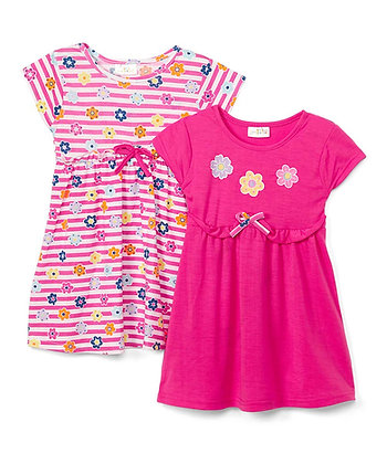 2 Pack Knit Dress 'Striped Floral' - 12-24M