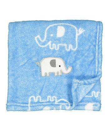 30'' x 40'' Light Blue Elephant Stroller Blanket