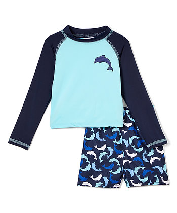 Swim Short & Long Sleeve Rashguard Dolphin - 12-24M