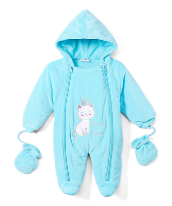 Aqua Princess Cat Snowsuit - 0-9M