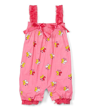 Woven Romper With Lace'Butterflies' - 0-12M