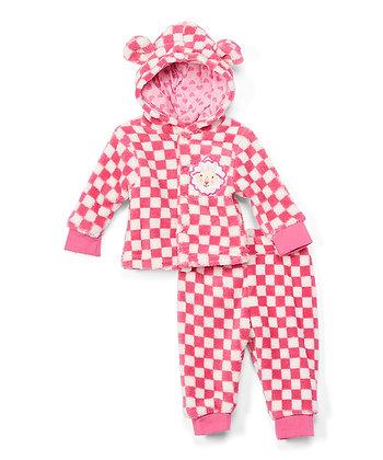 Pink Checkerboard & Sheep Fleece Ear Hoodie & Sweatpants - 0-12M