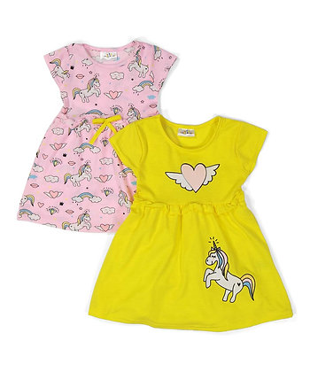 2 Pack Knit Dress 'Unicorn Magic' - 0-9M