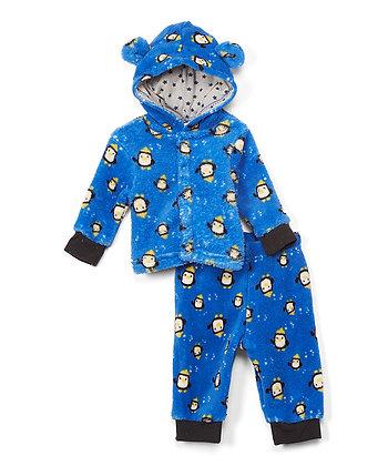 Blue Penguin Fleece Ear Hoodie & Sweatpants - 0-12M