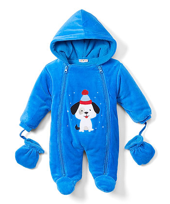 Royal Blue Puppy Snowsuit - 0-9M