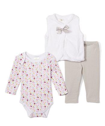 Gray & White Floral Plush Vest Set - 0-12M
