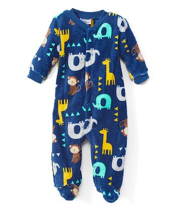 Blue Safari Animals Fleece Footie - 0-9M